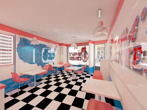 Fast food restaurant in U.S flag colors - 2015